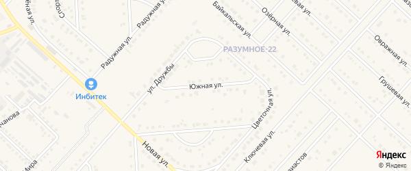 Южная улица на карте поселка Разумного с номерами домов