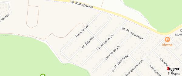 Улица Дружбы на карте Беловского села с номерами домов