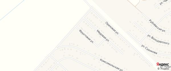 Фруктовая улица на карте поселка Разумного с номерами домов