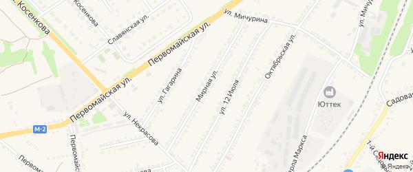Мирная улица на карте поселка Прохоровка с номерами домов