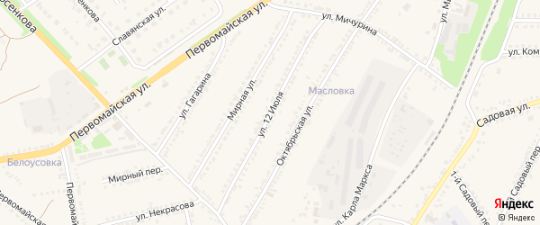 Улица 12 Июля на карте поселка Прохоровка с номерами домов