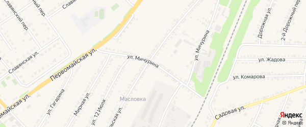 Улица Мичурина на карте поселка Прохоровка с номерами домов