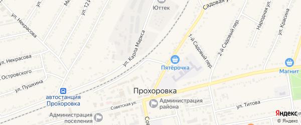 Улица Славы на карте поселка Прохоровка с номерами домов