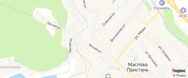 Рабочий переулок на карте поселка Маслова Пристани с номерами домов