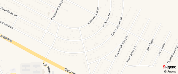 Улица Юности на карте села Севрюково с номерами домов