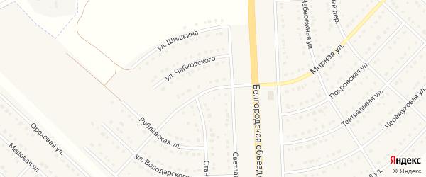 Улица Шаляпина на карте поселка Разумного с номерами домов
