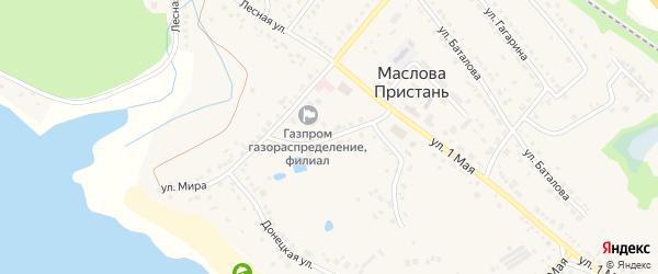 Школьный переулок на карте поселка Маслова Пристани с номерами домов