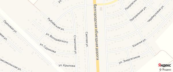 Светлая улица на карте поселка Разумного с номерами домов