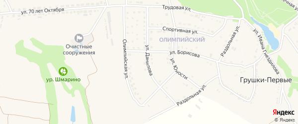 Улица Данилова на карте поселка Прохоровка с номерами домов