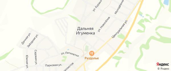 Карта села Дальней Игуменки в Белгородской области с улицами и номерами домов