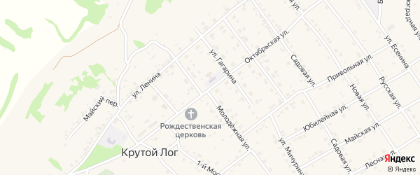 Октябрьская улица на карте села Крутого Лога с номерами домов