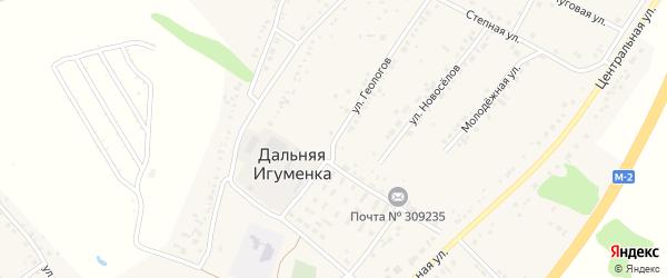 Улица Геологов на карте села Дальней Игуменки с номерами домов