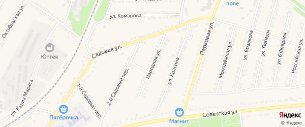Народная улица на карте поселка Прохоровка с номерами домов