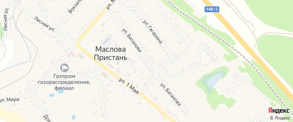 Улица Баталова на карте поселка Маслова Пристани с номерами домов