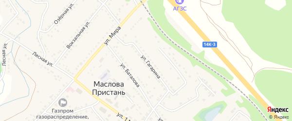 Улица Гагарина на карте поселка Маслова Пристани с номерами домов