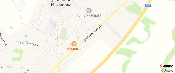 Центральная улица на карте села Дальней Игуменки с номерами домов