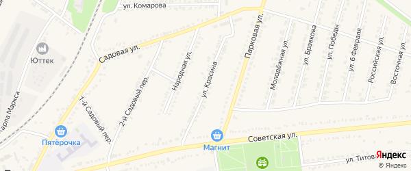 Улица Красина на карте поселка Прохоровка с номерами домов