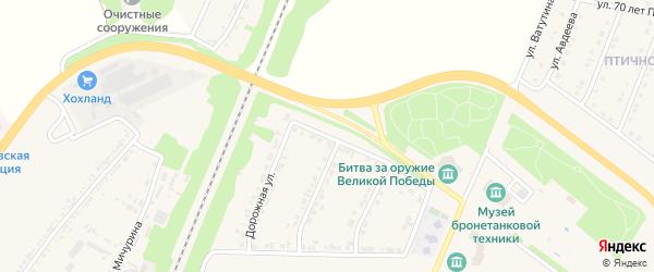 Дорожная улица на карте поселка Прохоровка с номерами домов
