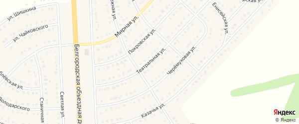 Театральная улица на карте поселка Разумного с номерами домов
