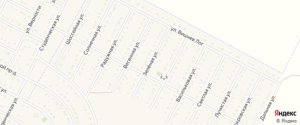 Зеленая улица на карте села Севрюково с номерами домов