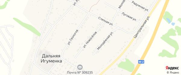 Улица Новоселов на карте села Дальней Игуменки с номерами домов