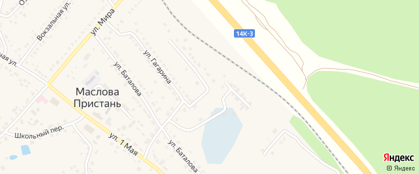 Железнодорожная улица на карте поселка Маслова Пристани с номерами домов