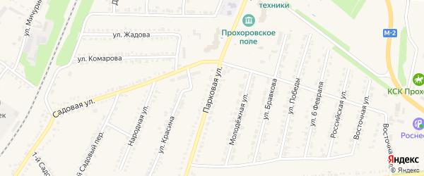 Парковая улица на карте поселка Прохоровка с номерами домов