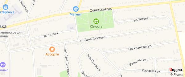 Улица Л.Толстого на карте поселка Прохоровка с номерами домов
