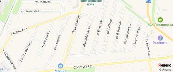 Молодежная улица на карте поселка Прохоровка с номерами домов