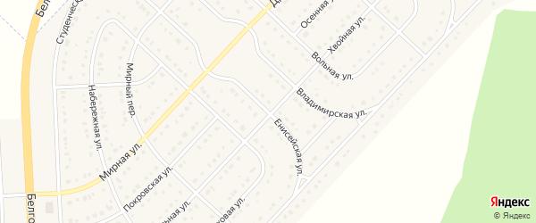 Енисейская улица на карте поселка Разумного с номерами домов