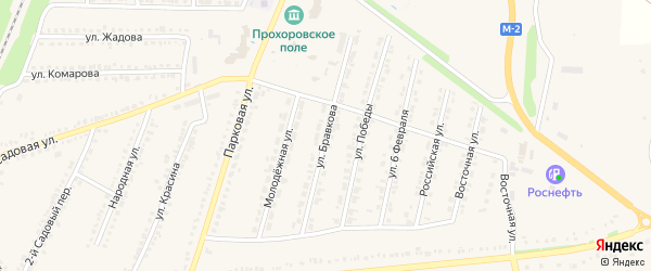Улица Бравкова на карте поселка Прохоровка с номерами домов