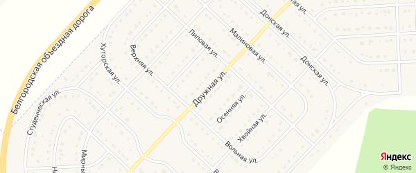 Дружная улица на карте поселка Разумного с номерами домов
