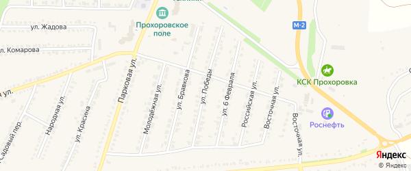 Улица Победы на карте поселка Прохоровка с номерами домов