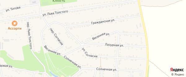 Весенняя улица на карте поселка Прохоровка с номерами домов