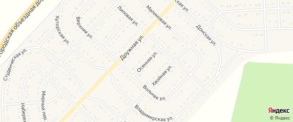 Осенняя улица на карте поселка Разумного с номерами домов