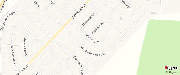 Вольная улица на карте поселка Разумного с номерами домов