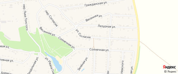 Улица Согласия на карте поселка Прохоровка с номерами домов