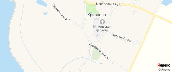 Первомайская улица на карте села Кривцово с номерами домов