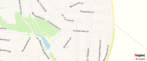 Солнечная улица на карте поселка Прохоровка с номерами домов