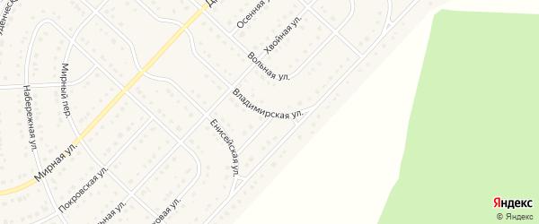 Владимирская улица на карте поселка Разумного с номерами домов