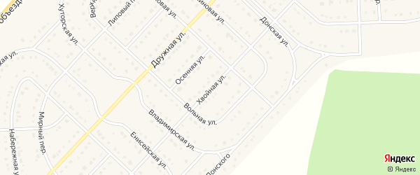 Хвойная улица на карте поселка Разумного с номерами домов