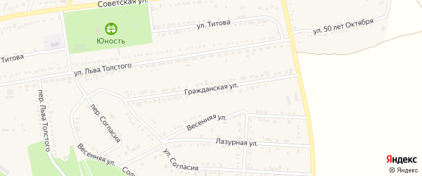 Гражданская улица на карте поселка Прохоровка с номерами домов