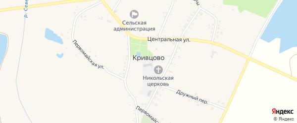 Заводской 1-й переулок на карте села Кривцово с номерами домов