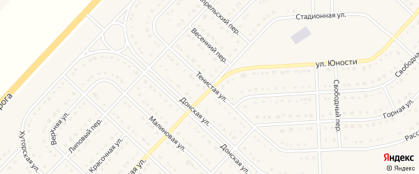 Тенистая улица на карте поселка Разумного с номерами домов