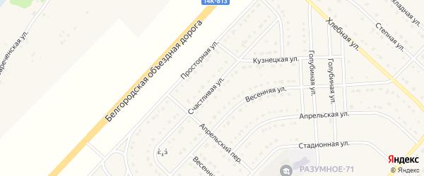 Счастливая улица на карте поселка Разумного с номерами домов