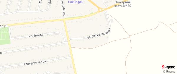 Улица 50 лет Октября на карте поселка Прохоровка с номерами домов
