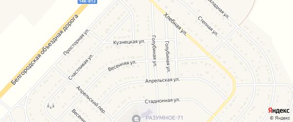 Весенняя улица на карте поселка Разумного с номерами домов