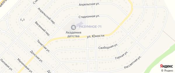 Улица Юности на карте поселка Разумного с номерами домов