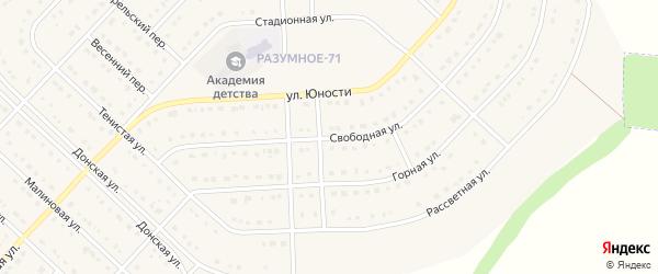 Свободная улица на карте поселка Разумного с номерами домов