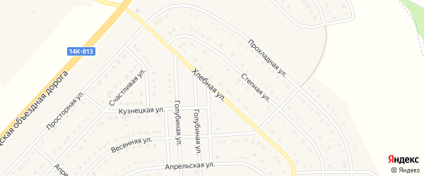 Хлебная улица на карте поселка Разумного с номерами домов